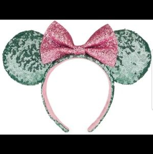 NWT!! Sequined Teal and Pink Mickey Ears!